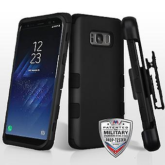MYBAT Rubberized Black/Black TUFF Hybrid Case w/ Holster  for Galaxy S8 Plus