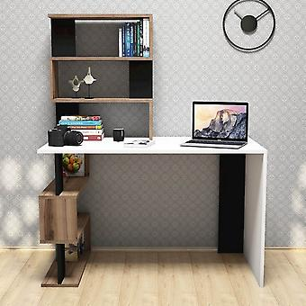 Snap Color White desk, Walnut, Preto em Chip Melaminic, PVC 120x60x148.2 cm