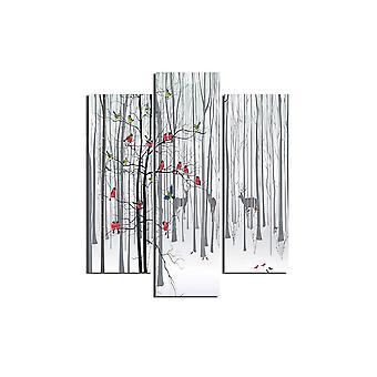 MehrfarbigeMosupe-Malerei in MDF, L19xP0.3xA50 cm (2 Stück), L19xP0.3xA60 cm (1 Stück)