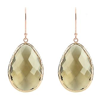 925 Silver Gemstone Dangle Drop Rose Gold Earrings Smokey Brown Quartz Hook Big