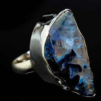 Huge Rough Rainbow Moonstone Ring Size 8.5 (925 Sterling Silver)  - Handmade Boho Vintage Jewelry RING17664