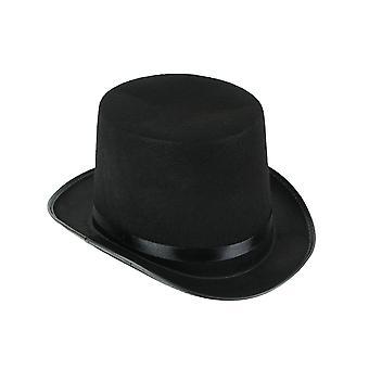 Chapeau de dessus de feutre noir avec l'accessoire de costume d'Halloween adulte de bande de satin