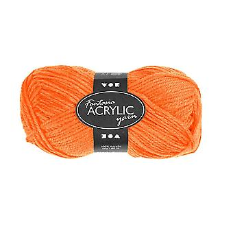 50g 3-Ply Neon Orange Acrylic Yarn for Kids Knitting and Sewing Crafts