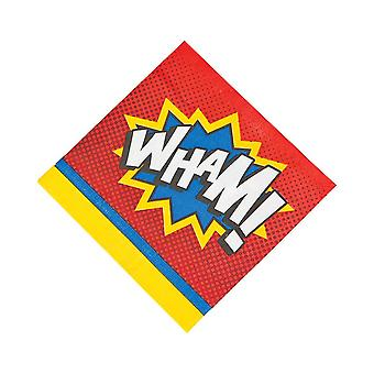 16 Large Superhero Paper Napkins for Childrens Parties