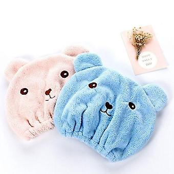 Cute Bear Microfiber Shower Bath Accessories, Hair Wrapped Towel Caps Quickly