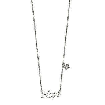 925 Sterling Zilver Gepolijst CZ Kubieke Zirconia Gesimuleerde Diamond Hoop met Star Ketting 18 Inch Sieraden Geschenken voor vrouwen
