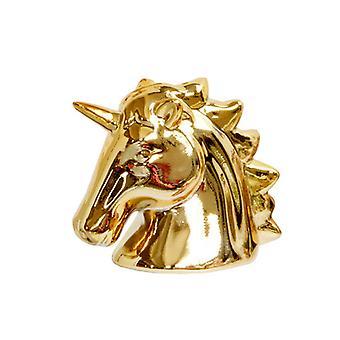Ceramic Unicorn Shape Figurines Craft Desktop Decor Gold