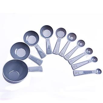 10PCS kitchen Cooking Measuring Cups and Spoons Grey