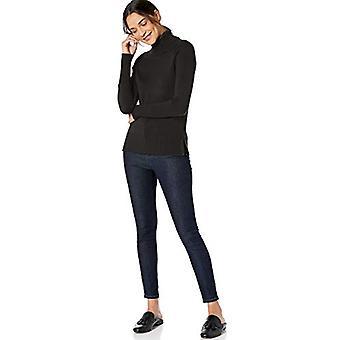 Marke - Lark & Ro Frauen's Rib Detail Turtleneck Pullover, schwarz, groß