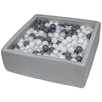 Kwadratowy dół kulkowy 90x90 cm z 450 kulkami białymi, masą perłową i szarą