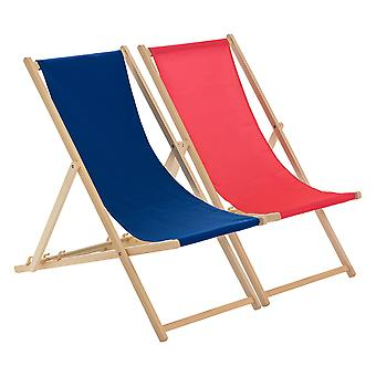 Traditional Adjustable Beach Garden Deck Chairs - Pink / Navy