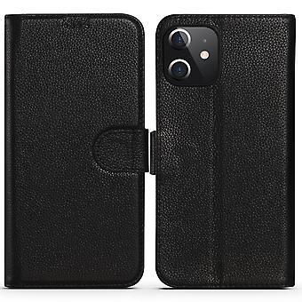 Para iPhone 12 mini caso moda cowhide cuero genuino cartera cubierta de negro