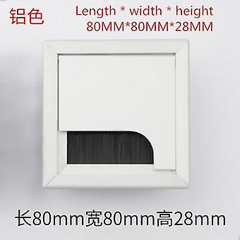 Alloy Square Cable Hole Cover 80*80mm Table Tv Cabinet Computer Desk Wire Grommet Hole Cover Outlet Port Line Holder