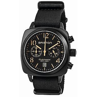 Briston Clubmaster Trendsetter Chronograph Watch - Black/Orange/Black