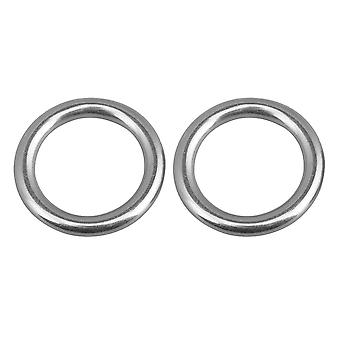 2PCS 304 Stainless Steel O Round Yoga Seamless Dance Webbing Ring 30mm