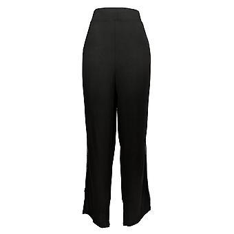 Soft & Cozy  Women's Plus Pants Jersey Knit W/ Chiffon Trim Black 663-200