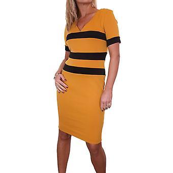 Mujeres's V cuello estiramiento Bodycon vestido señoras manga corta rodilla longitud lápiz vestido contraste mostaza amarillo tamaño 8