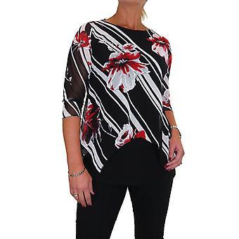 Kvinner's Rund hals Floral Print Mesh Overlay Topp Bluse Spesielle Anledninger Svart Rød 10-22