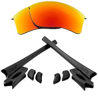 Polariserade ersättningslinser Kit för Oakley Flak Jacket XLJ Red Mirror Black Anti-Scratch Anti-Glare UV400 av SeekOptics