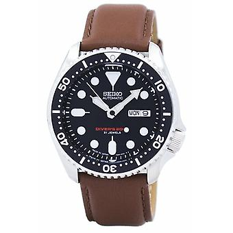 Seiko Automatisk Diver's Ratio Brunt läder Skx007j1-ls12 200m Män's Watch