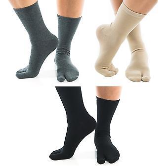 Flip Flop Tabi sukat musta, khaki ja harmaa mukava miehistö iso varvas sukat-3