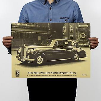 رولز رويس الشهيرة العتيقة سيارة خمر كرافت ورقة ملصق