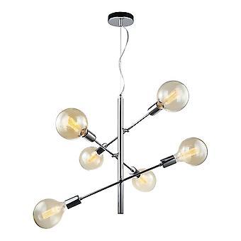 Italux Madalyn - Moderno pendente appeso Chrome 6 Light, E27