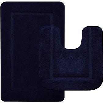 LOCHAS Soft Bath Mat Set,50X50cm Toilet Mat and 53X86cm Bathroom Rug