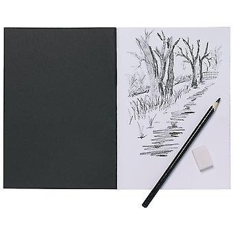 A5 artist sketch book white cartridge paper black card cover art pad 1