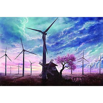 SuperPower Beautiful 1000 Pieces Spring Pink Sakura Tree Cherry Blossoms Windmill Photo Puzzle