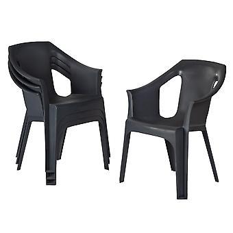 Resol 6 Piece Cool Plastic Garden Chair Set - Stackable UV Resistant Outdoor Patio Armchair - Grey