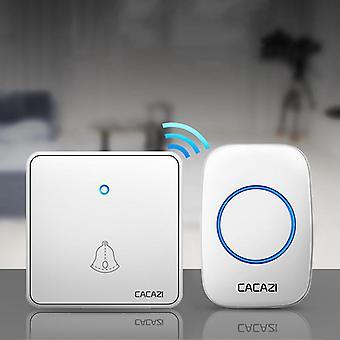 CACAZI H12 المنزل جرس الباب اللاسلكية للماء 300M عن بعد 60 الدقات CR2032 البطارية الارسال ليلة