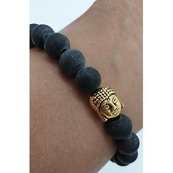 Black Slate Stone Bracelet With Gold Buddha Head - Stretch Elastic