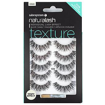 Salon System Naturalash Strip Lashes - Texture 109 - Reusable with Glue 5 Pairs
