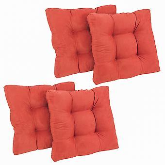 Coussin de chaise à manger tufted microsuede carré de 19 pouces (ensemble de quatre) - Cardinal Red