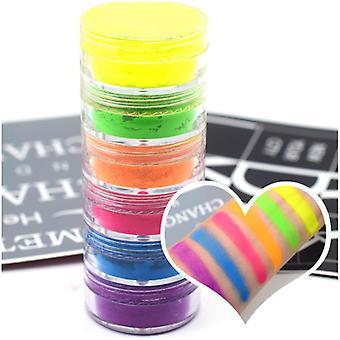 Mix Neon Pigment Eye Shadow, Makeup Palette Glitter Matte Powder (6 Color)