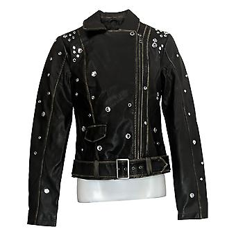 G By Giuliana Women's Studded Faux Leather Jacket Black 718-481