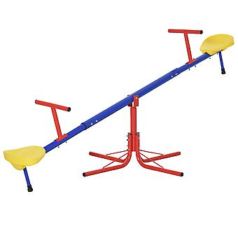 Outsunny Kids 360 Degree Rotating Metal Seesaw Spinning Swivel Teeter Totter Children's Playground Equipment for Garden Outdoor Indoor Swing, 2 Seats
