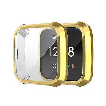 pour Fitbit Versa Lite Screen Protector Case TPU All-Around Protective Bumper[Gold]