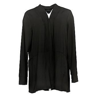 Cuddl Duds Women's Sweater Flexwear Cardigan With Peplum Hem Black A391565