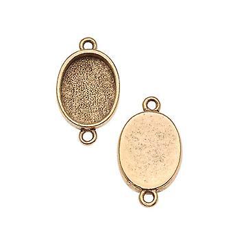 Nunn Design Antiqued 24kt Gold Plated Bezel Pendant Oval Link 14x10mm