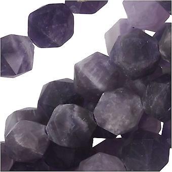 Dakota Stones Gemstone Beads, Dog Teeth Amethyst, Matte Star Cut Faceted Round 8mm, 15 Inch Strand