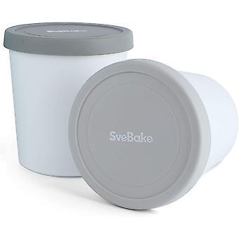 FengChun Eisbehälter für Speiseeis 1L - 2er-Set mit Deckeln aus Silikon, Behälter Hausgemachte für