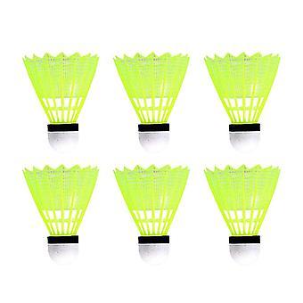 6pcs Nylon Badminton Birdies Shuttlecocks für Indoor Outdoor Spielen Schule Fitness-Sport-Aktivitäten (gelb)