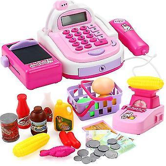 Hra na pokladnu hratí předstírejte sadu her pro děti Barevné dětské supermarketové pokladny (PURPLE)