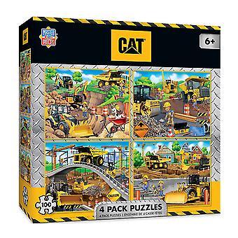 Masterpieces Puzzle CAT Caterpillar Puzzle 4 Pack (100 pcs)