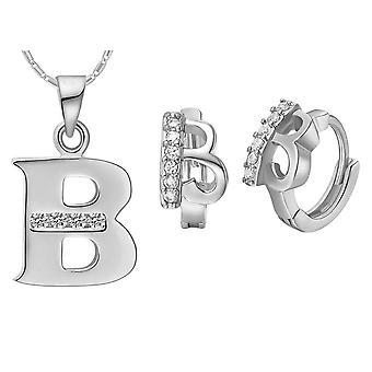 (B)  Alphabet Rhinestone Womens 26 Initial Letter Huggie Earrings Necklace Jewelry Set Silver