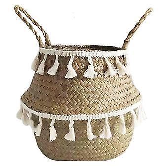 (27*24cm) Flower Plants Seagrass Woven Storage Pots Bag Basket Straw Garden House Decor