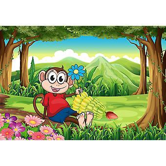 Mural de papel de parede um macaco segurando uma flor