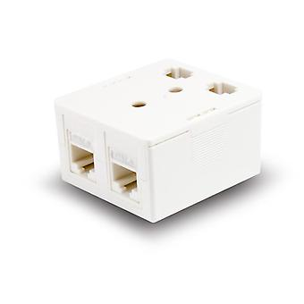 Serveredge 2 Way Cat6 Surface Mount Box With Keystone Jack White